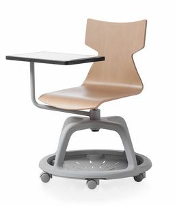 Kimbox Wood, Swivel chair with rotatable writing tablet