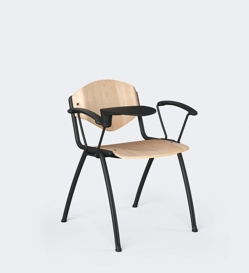 OMNIA CONTRACT 4G, 4 legs chair for conferences, with writing tablet