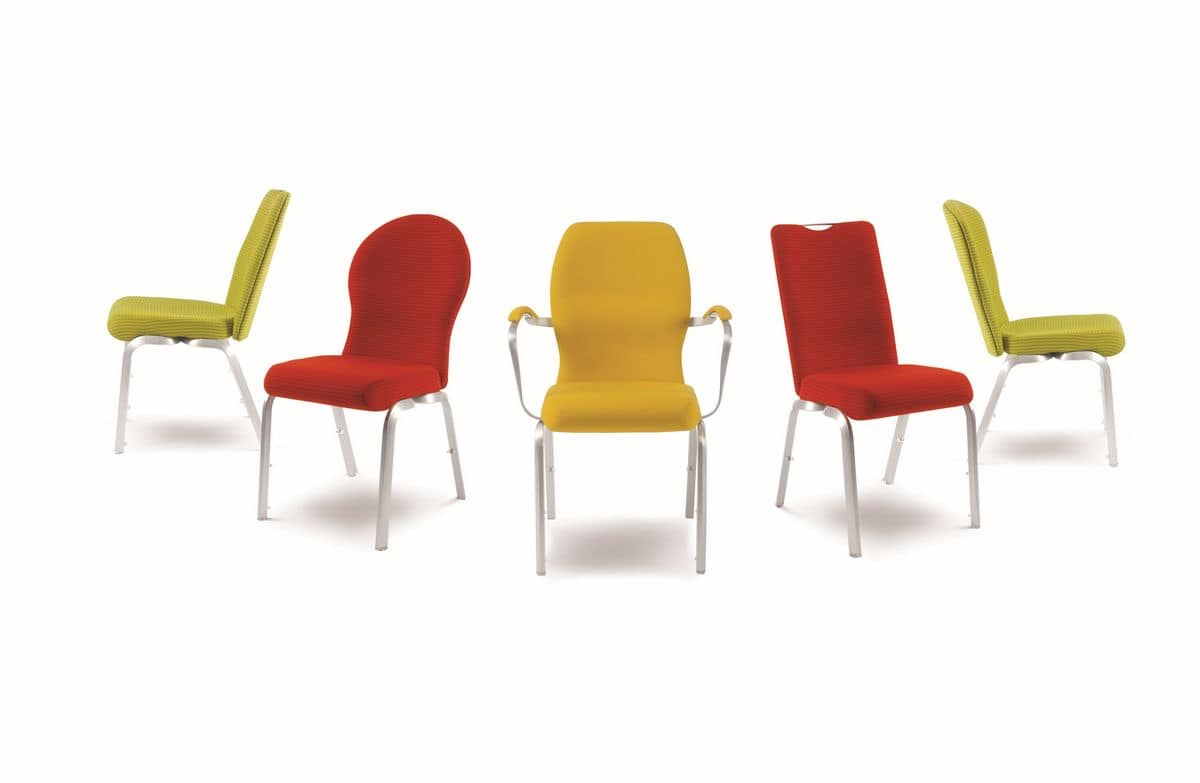 Orvia 12/3A, Comfortable padded chair for conferences, fireproof, stackable