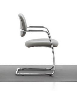 Samba 01, Sled chair in chrome metal for office and waiting rooms