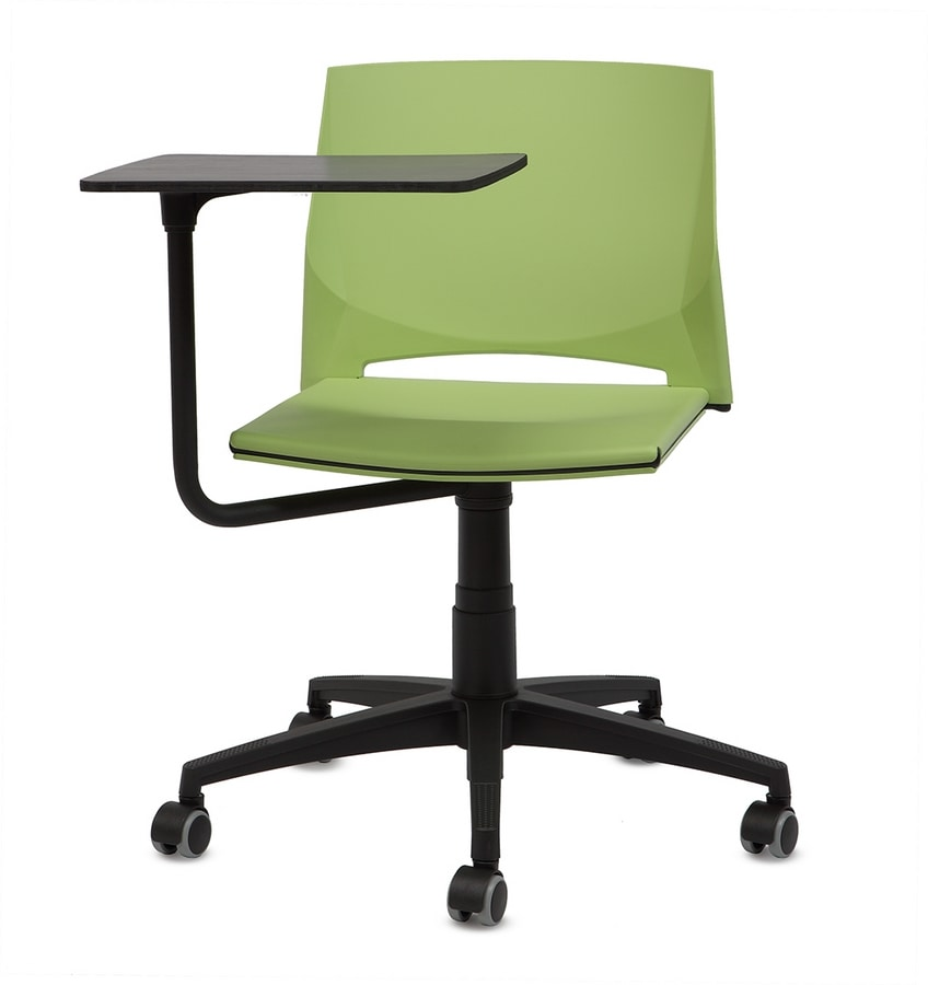 TREK 040 TO, Chair on castors, with writing tablet