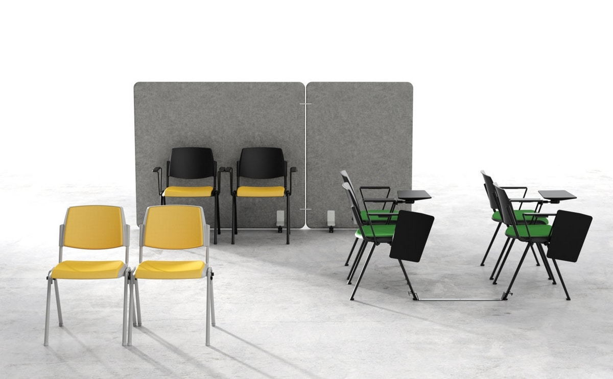 Wampa with armrests, Stackable chair for conference rooms, training and courses