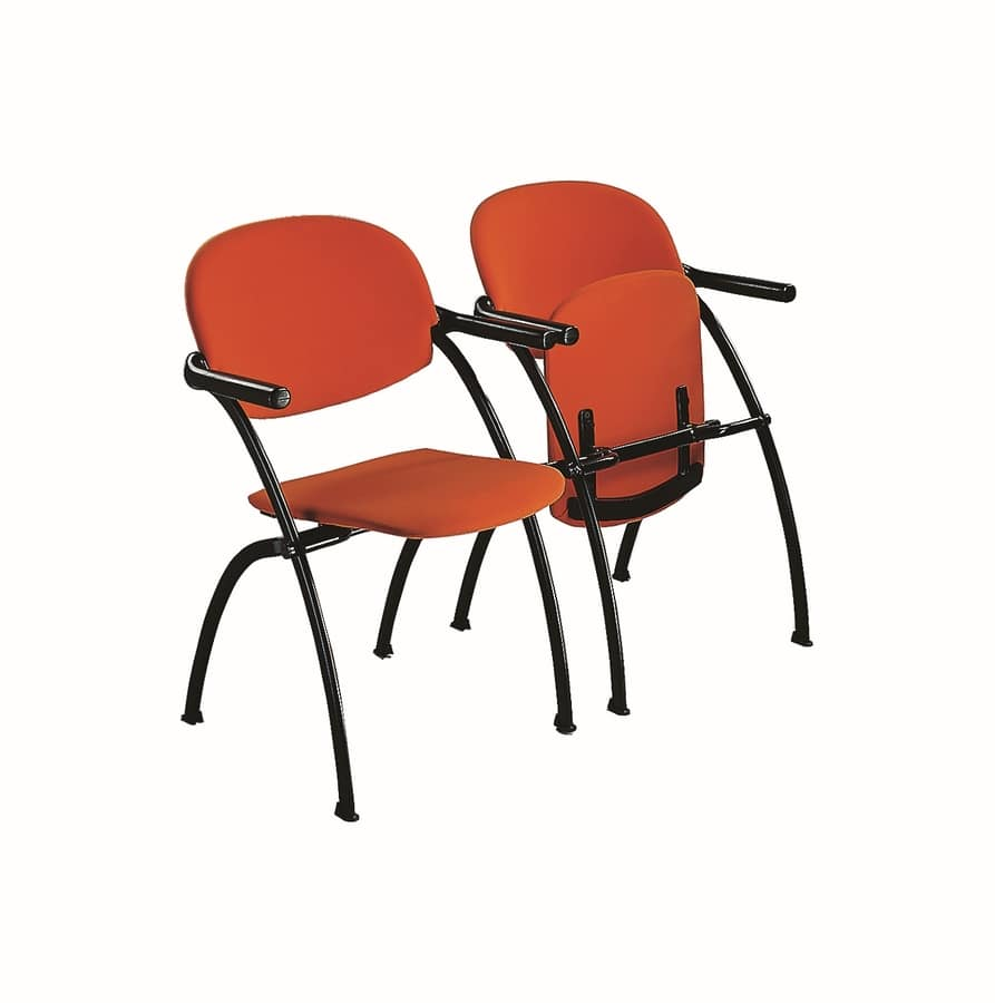 Aura linking chair, Attachable metal chair with folding seat