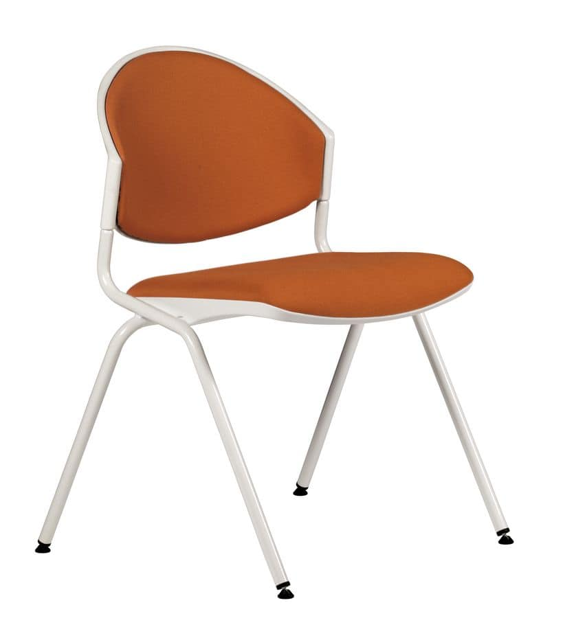 NESTING DELFI 088 S, Stackable chair in metal and polymer, for conference room