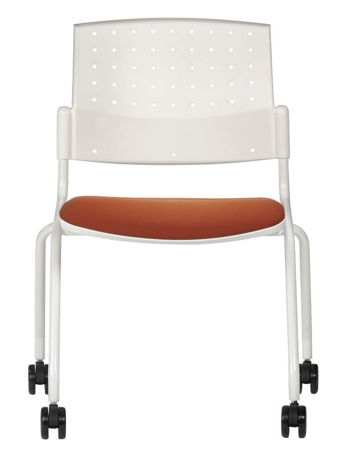 NESTING DELFIBRIO 063 R, Metal chair with upholstered seat with wheels