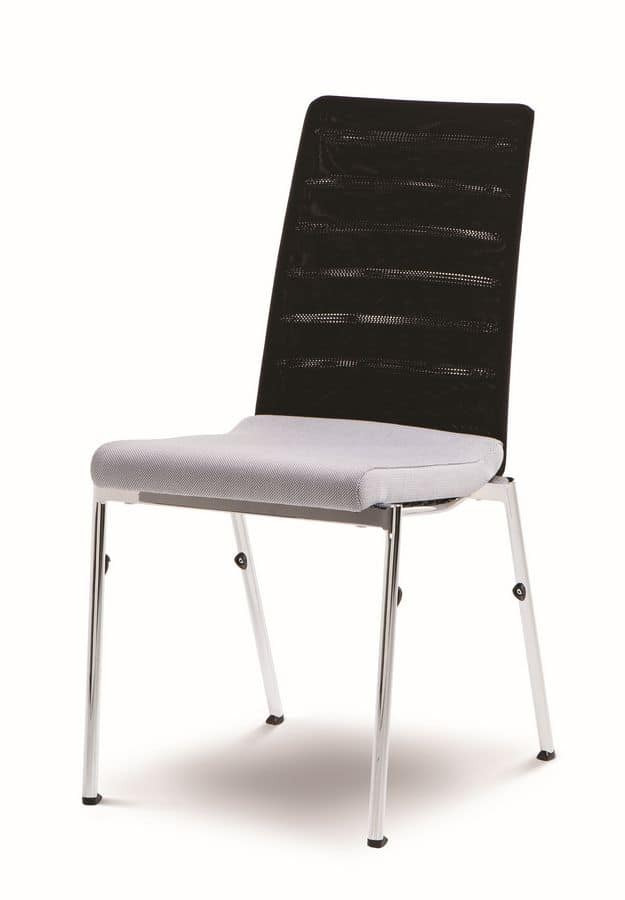 Evosa Congress 08/3, Chair multi-purpose in steel, upholstered seat, anatomic back, for conferences, meetings, banquets