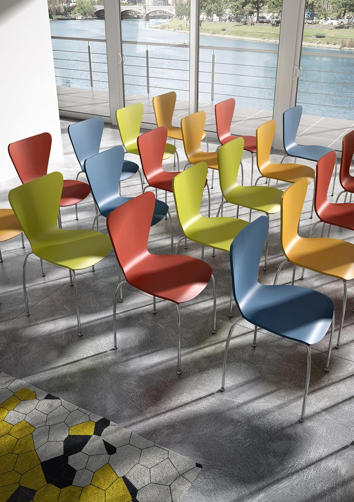 Gardena 0653LE, Chair in metal and wood, for office and waiting rooms