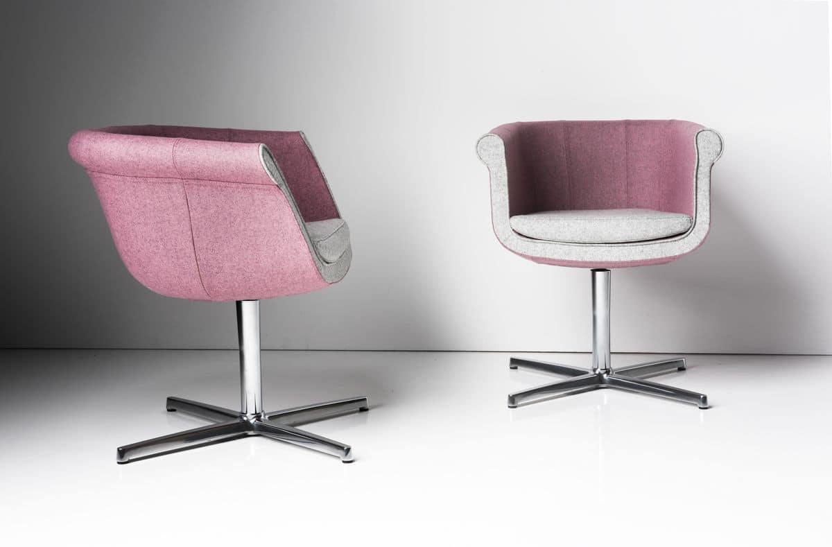 Liz 4 feets, Chair for meetings, swivel, aluminum base