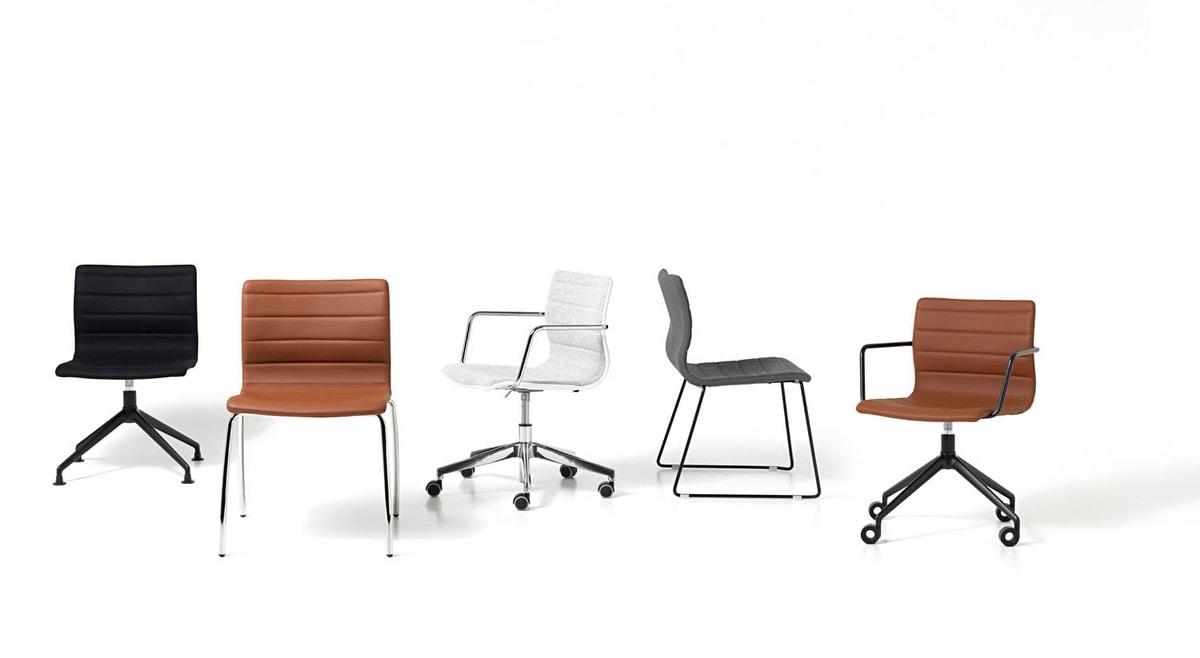 Miss, Swivel chair with steel base, various coatings