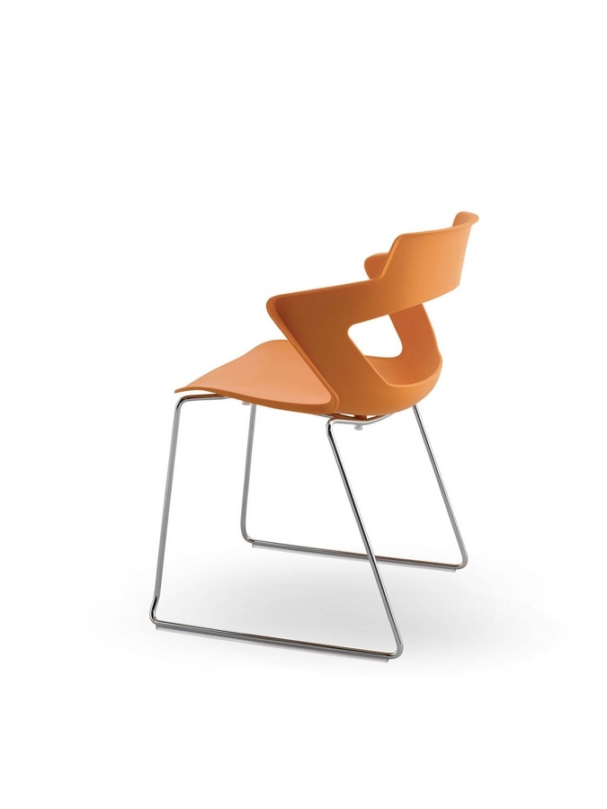 UF 168 / T, Stackable chair with sled base and PVC shell