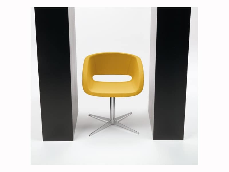 Vanity 4 feets, Upholstered chair for conference, base and shell in steel