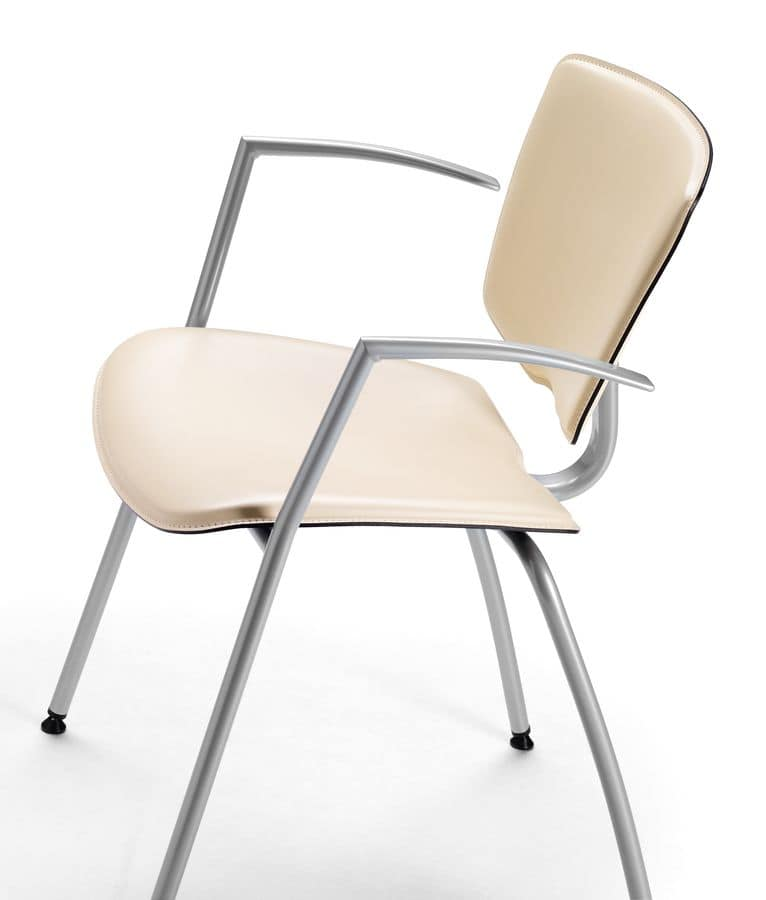 VEKTATOP 121, Metal chair with armrests, leather covering