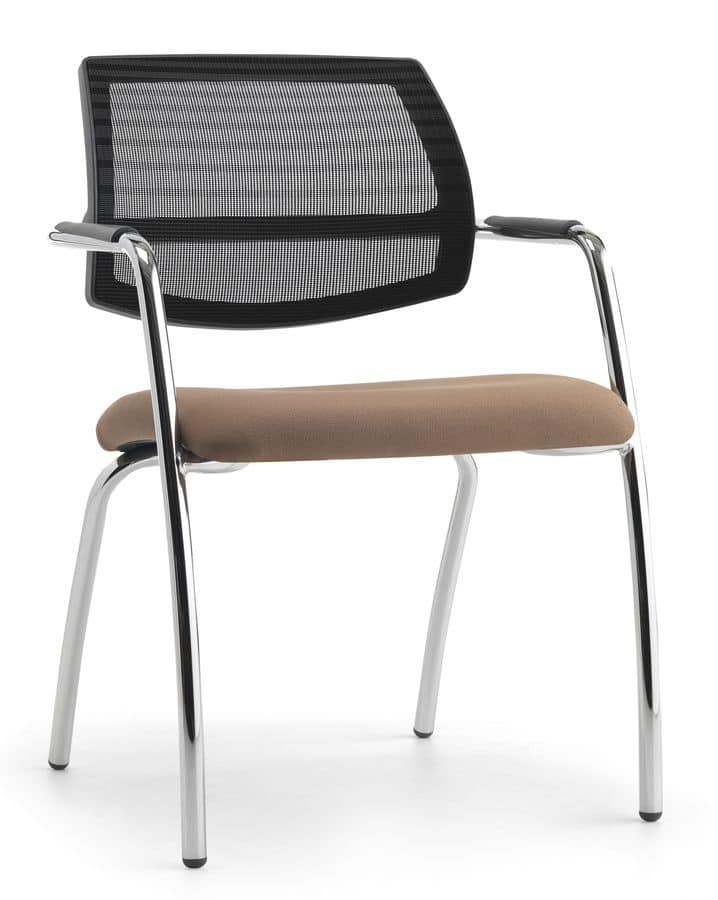 Air One Soft 04, Modern chair with mesh backrest, for conventions