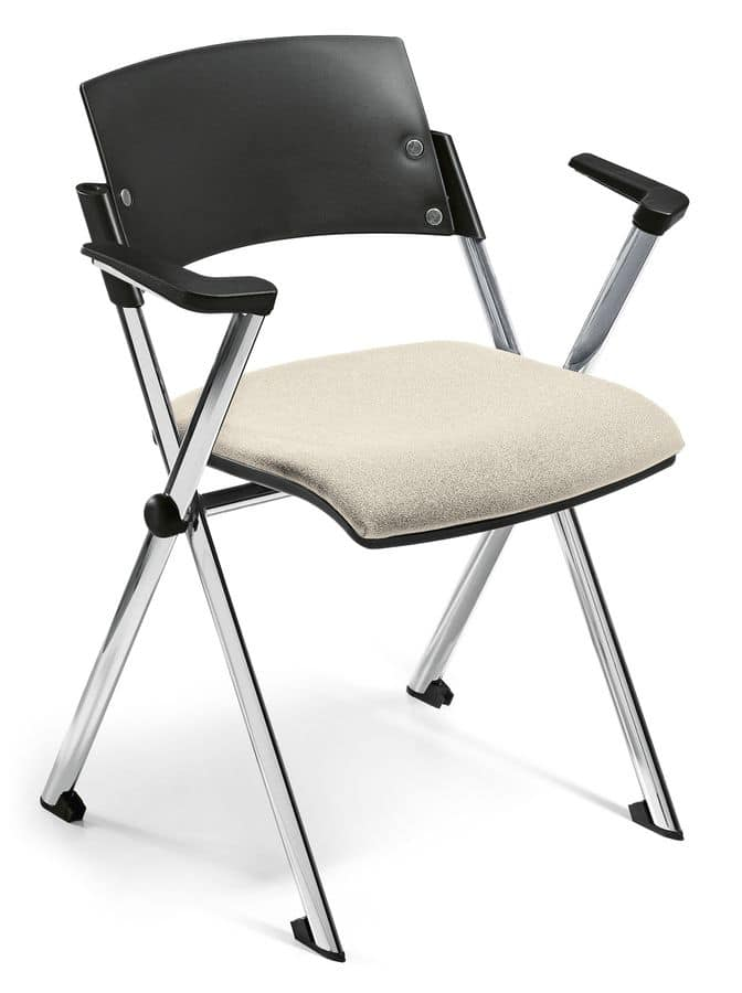 Comoda 02, Stackable chair, folding seat, with armrests