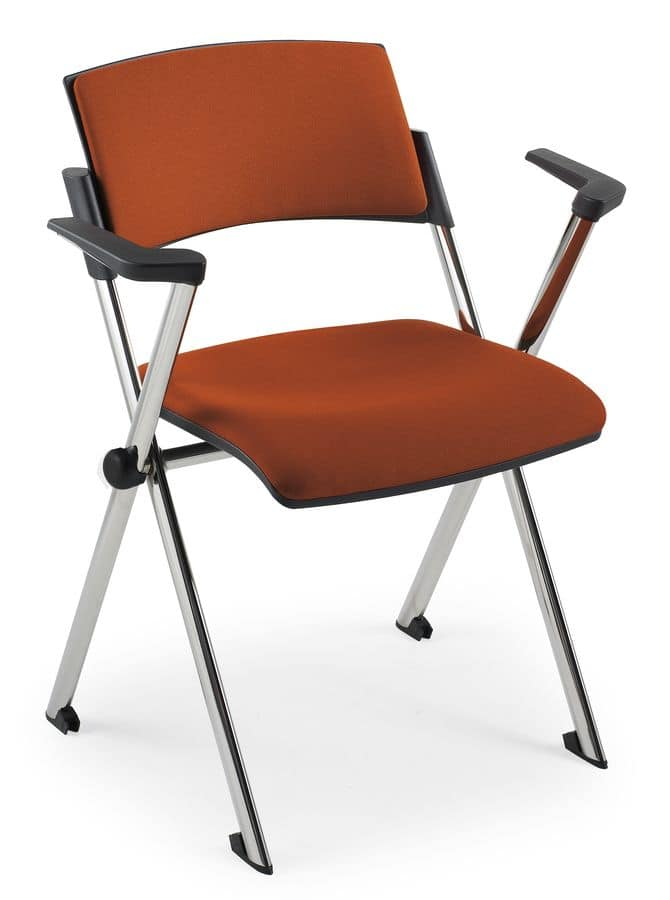 Comoda Soft 02, Stackable chair with armrests, in steel, for conference halls