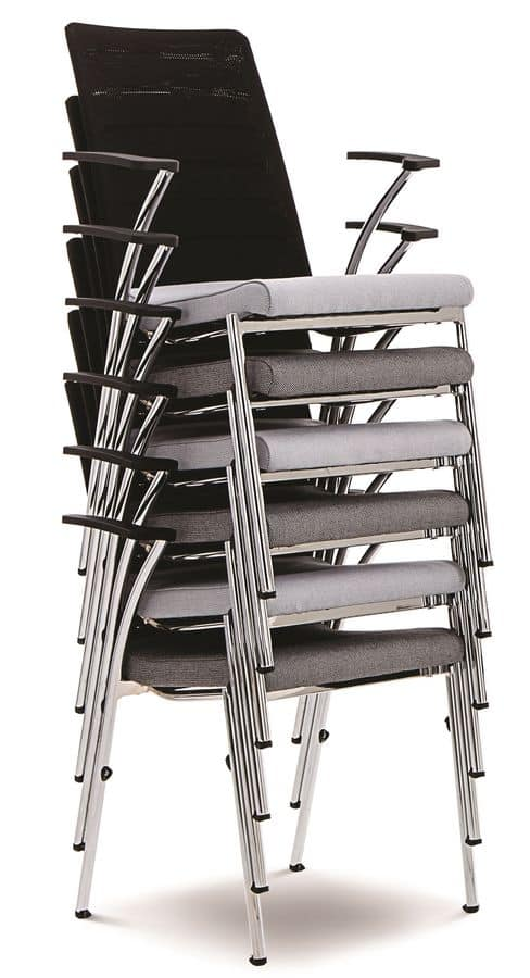 Evosa Congress 08/3A, Chair with chromed metal base, upholstered with polyurethane armrests, for conferences, meetings, banquets