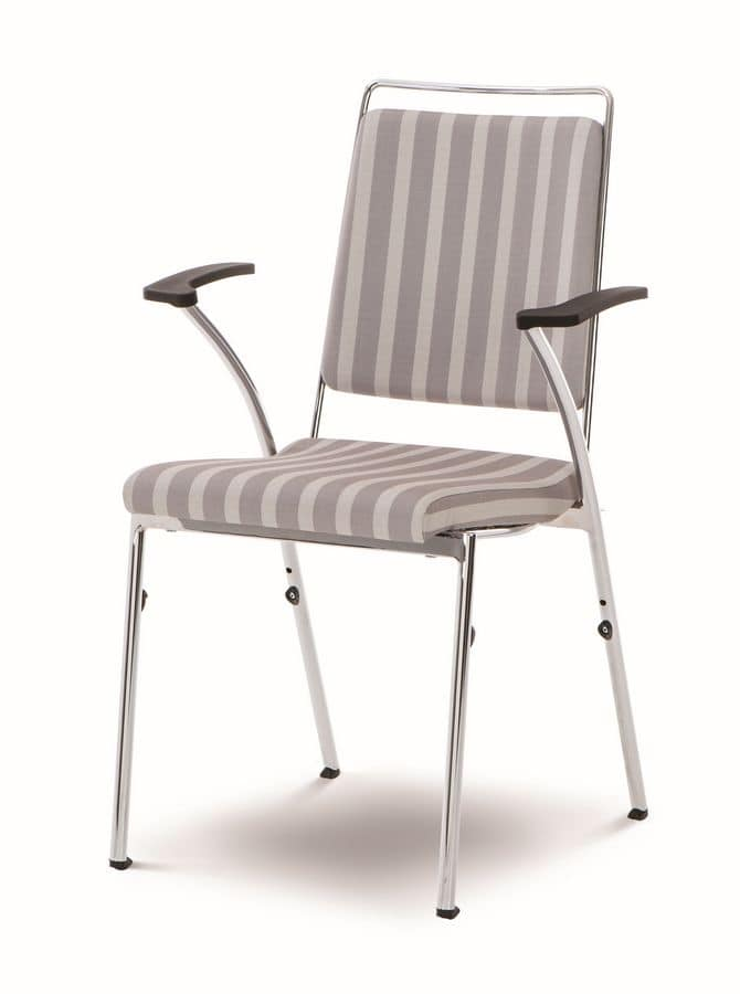 Evosa Congress 08/5A, Stackable metal chair, produced in EC, flexible back, and conference rooms