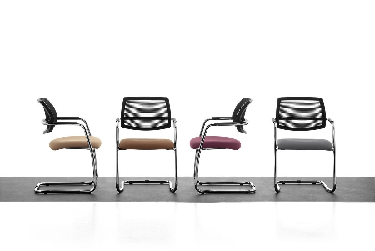 Samba AIR 01, Visitor chair with mesh backrest, for meeting room