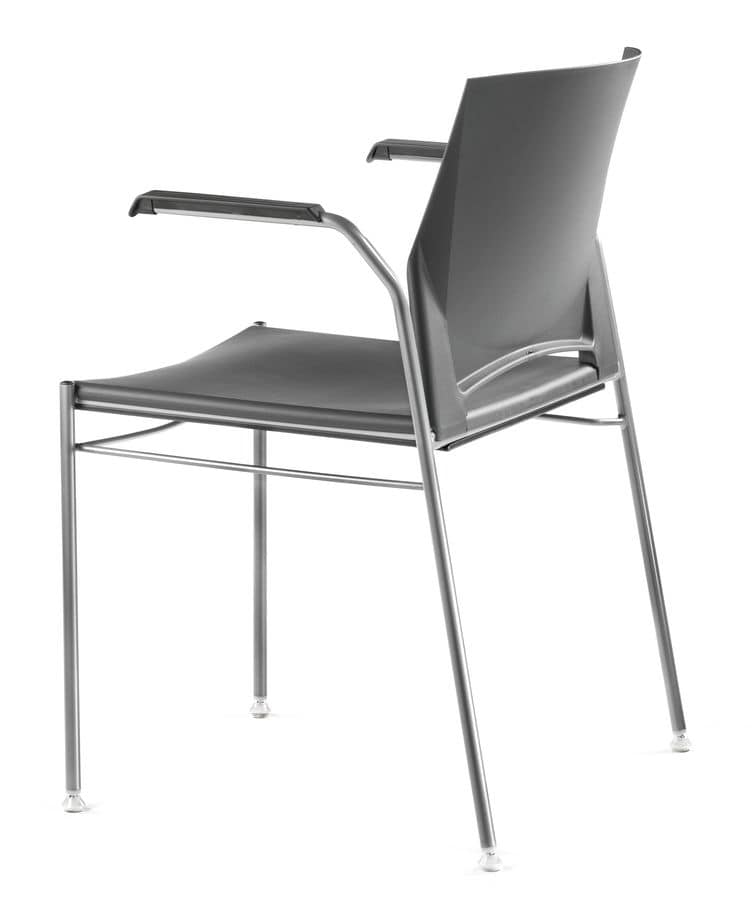 TREK 036, Stackable chair in metal and polymer, with arm covers