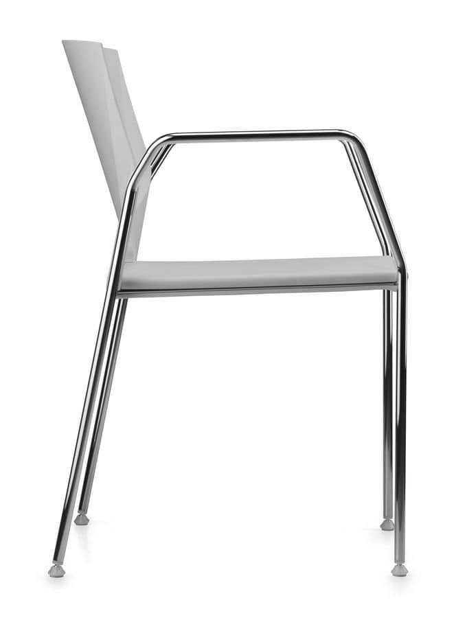 TREK 038, Chair with chrome metal base, seat and back in polymer