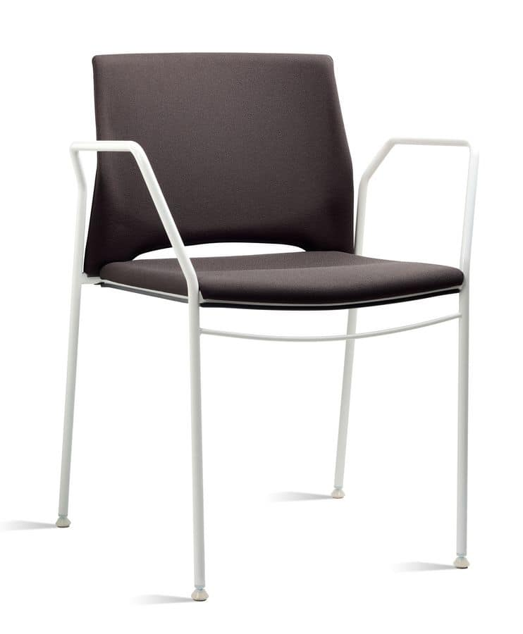TREK 038 Z, Chair with armrests in metal and polymer, in various colors