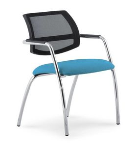 UF 133, Padded chair with mesh backrest, for conventions