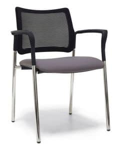 Urban Air 02, Upholstered chair with mesh backrest and armrests