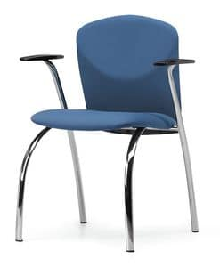 VULCAN 1275 Z, Padded chair with armrests, metal frame