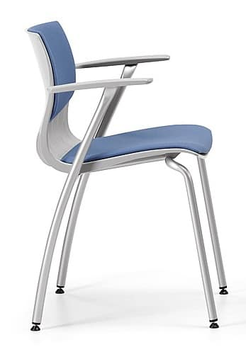 WEBBY 338 S, Padded metal chair with armrests, for conferences