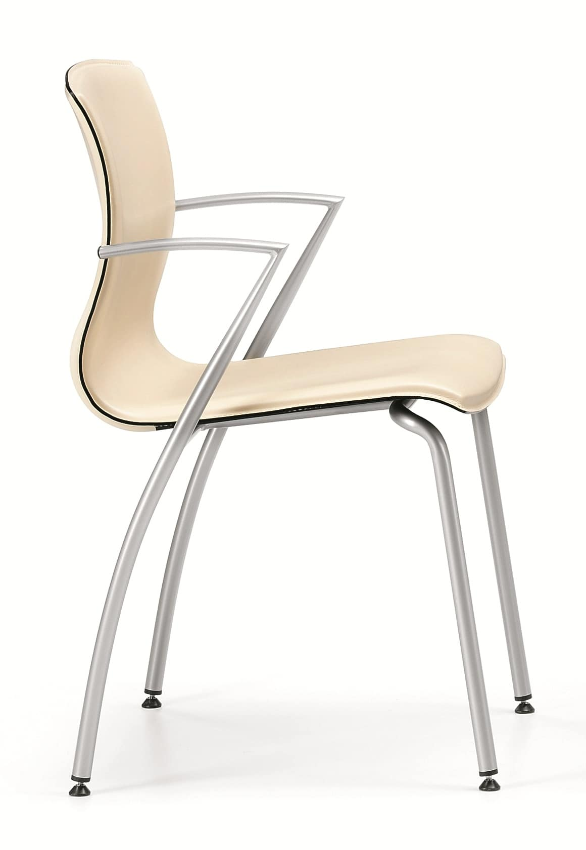 WEBTOP 384, Metal chair with leather upholstered seat
