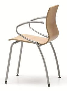 WEBWOOD 359, Chair with beech plywood shell, with armrests