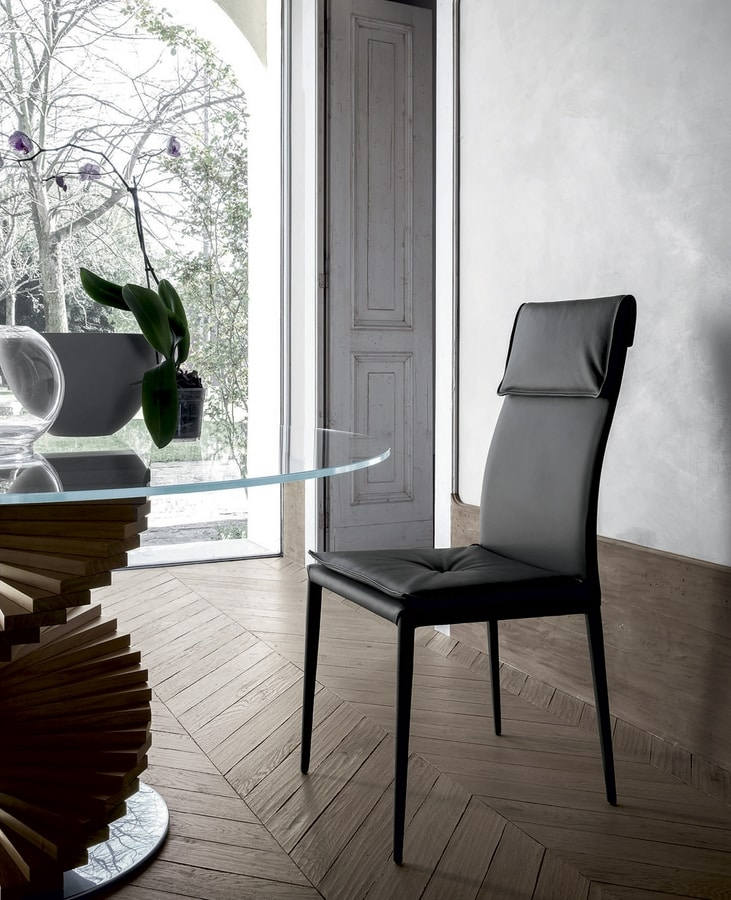 ADRIA, Chair upholstered, also totally, in leather