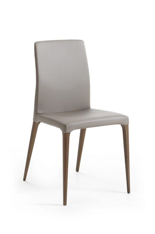 Alice, Elegant chair in Canaletto walnut, upholstered in leather
