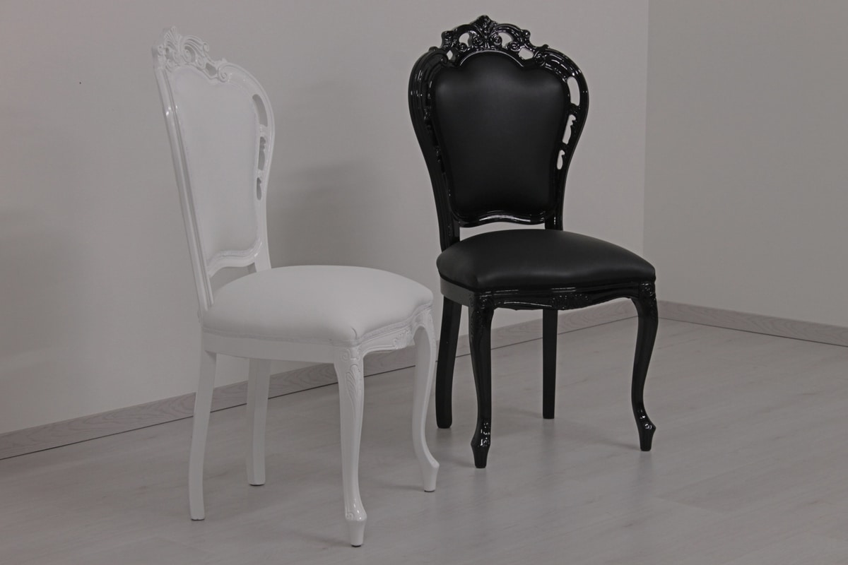 Black leather, Contemporary baroque leather chair