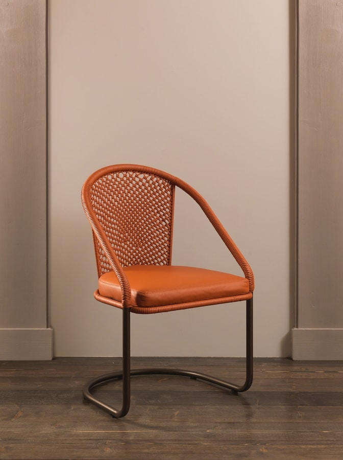 DOMINO HF2076CH, Iron chair covered in leather