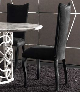 Eva Art. 646, Dining chair in leather, with high back