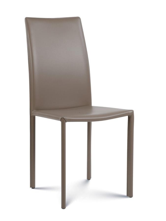 Giada medium, Modern chair covered in leather