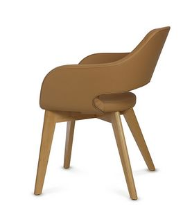 NUBIA 2208, Leather chair with wooden legs