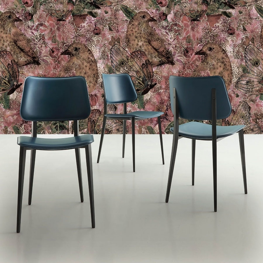 s37 sandy, Metal chair with leather seat