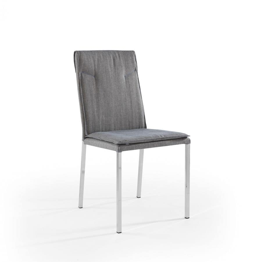 Ariel chromate, Chair with chrome legs and padded seat