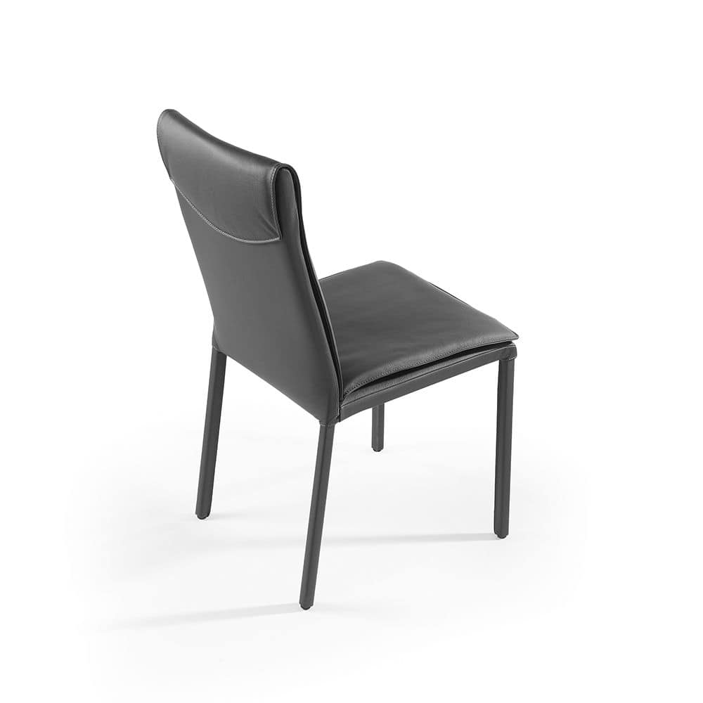 Ariel, Metal chair with upholstered seat and back