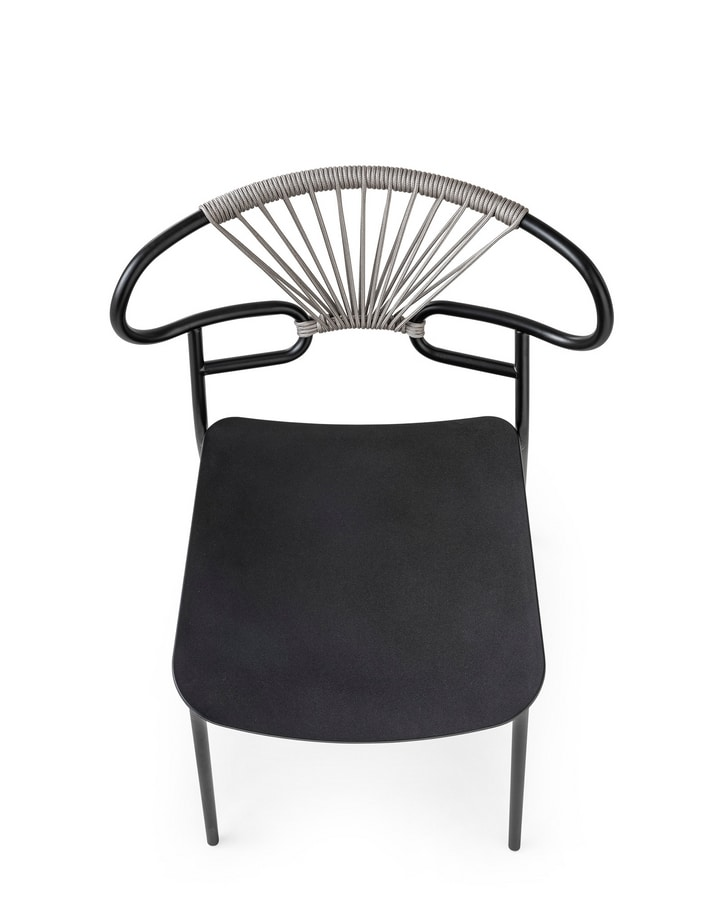 ART. 0047-MET-CROSS-PU GENOA, Metal chair, with back decorated with rope