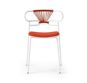 ART. 0047-MET-CROSS-IM GENOA, Stackable metal chair with padded seat