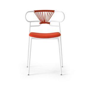 ART. 0047-MET-CROSS-IM GENOA, Stackable metal chair with padded seat