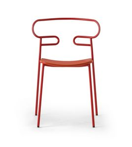 ART. 0047-MET-PU GENOA, Stackable chair in painted metal
