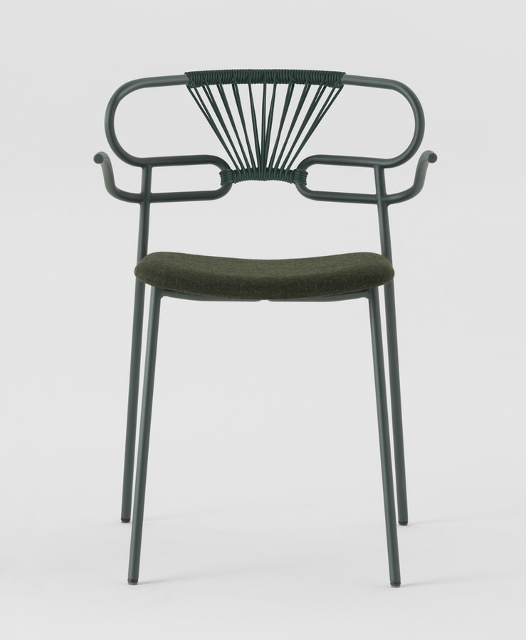 ART. 0048-MET-CROSS-IM GENOA, Chair with armrests, rope backrest