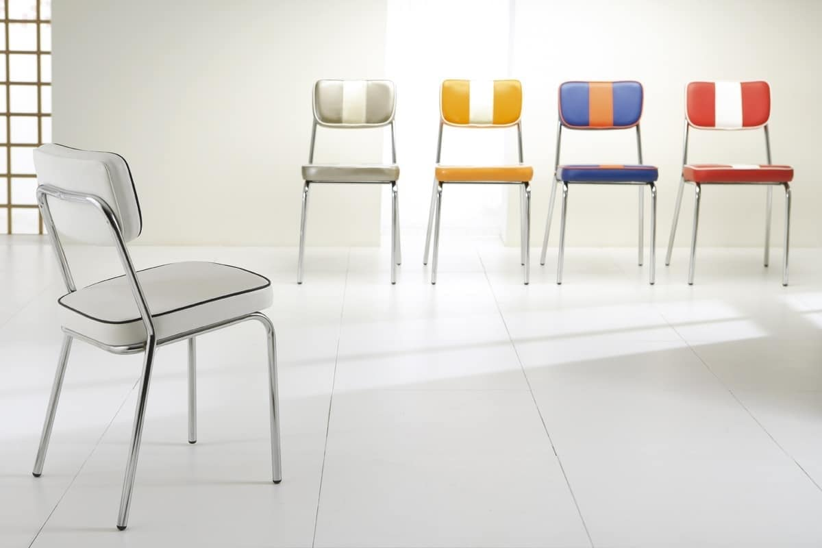 Art. 049 Hollywood, Padded chair for bar and restaurants, with retro lines
