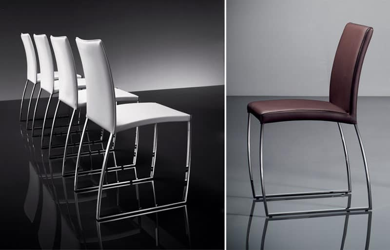 ART. 251 DIAMOND CHAIR, Elegant chair upholstered in leather, metal base