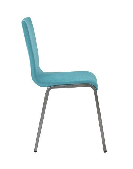 Art.Niù chair, Padded chair with metal base for home and contract use