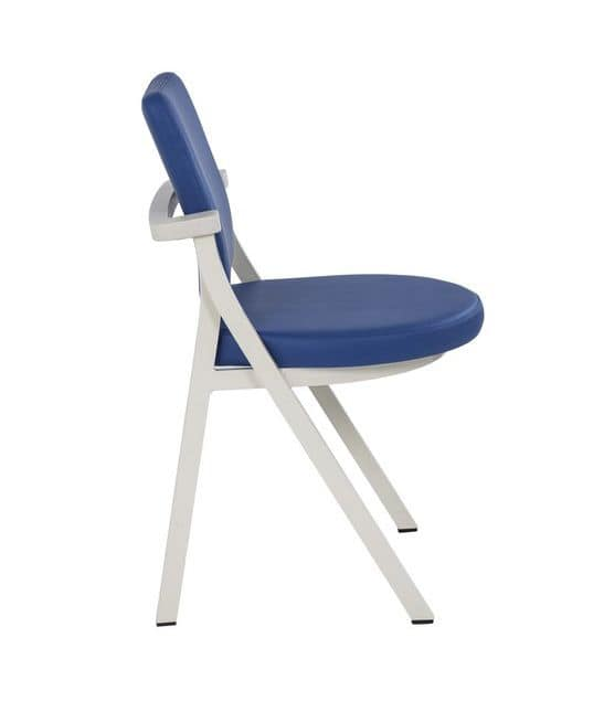 Art.Woox 2/round, Padded metal chair designed for community spaces